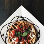 Bruschetta Waffle, mozzarella, tomatoes, basil and balsamic