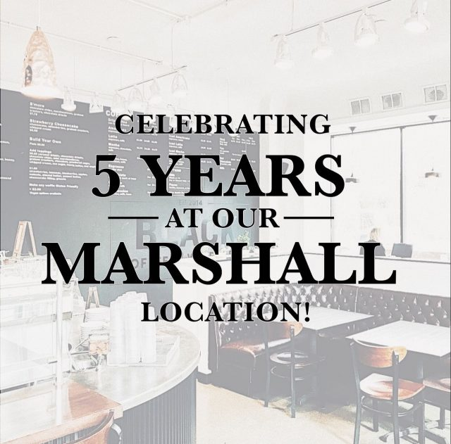 MARSHALL TURNS 5 & we are celebrating 🥳 we are so grateful for five years of supportive community, great conversations, pouring lattes, and whippin up waffles. A huge thank you to the incredible staff we have had through the last 5 years, and to the original group who helped get Marshall on its feet. As a thank you to our customer, show this post at check out at our Marshall location (2180 Marshall Ave) to get a free drip coffee with any waffle order. Tag your go-to waffle & coffee partner and come celebrate with us. 🖤  *special is for July 16th, only*